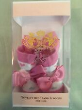 NEW JUICY COUTURE BOOTIE HEADBAND SET WHITE PINK SILVER BABY NWT HEARTS BOWS