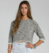 2015 NWT WOMENS BILLABONG GETTING BY SOLID PULLOVER SWEATER $45 M black white