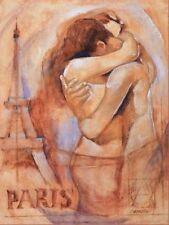 Talantbek Chekirov: Embrace in Paris Fertig-Bild 60x80 Wandbild Mädchen Paar