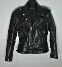 Vintage Bonus Genuine Leather Motorcycle Jacket Black size 40 Medium