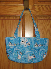 HAND SEWN QUILTED CARRY PURSE BAG Blue FROZEN OLAF SNOWMAN - Velcro Closer