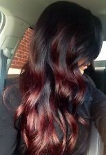 Red Human Hair Wig, Ombre, Lace Front, Long, Glamour, Human Hair Blend