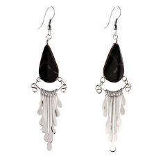 "#4103 Obsidian Peruvian Earrings Stone Drop Artisan Made Alpaca Silver 2""Dangles"