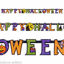 2.4m Haunted House Happy Halloween Spooky Jointed Cutout Glitter Letter Banner