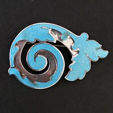 Vtg Margot de Taxco Mexican Sterling Aqua Blue Enamel Pin Brooch Book Piece