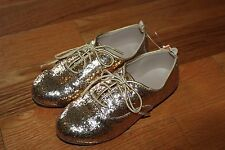 NWT Gymboree Prep Perfect Size 11 Gold Glitter Lace Up Shoes