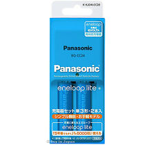 Charger + 2 Panasonic Eneloop Lite Batteries AA Rechargeable Batteries 950 mAh