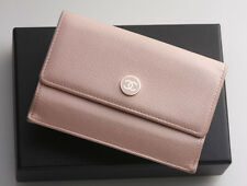 G6384M Authentic CHANEL CoCo Button Leather & Canvas Coin Purse