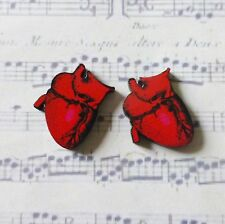qUiRkY PRINTED WOODEN RED PINK ANATOMICAL HEART SILVER PLATED EARRINGS