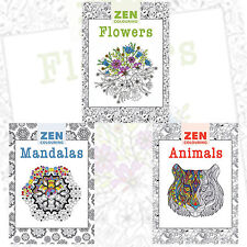 Zen Colouring Collection Creative Colouring Books 3 Books Set (Flowers,..),New