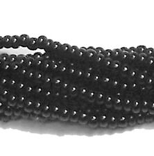 Black Opaque Czech 6/0 Seed Bead on Loose Strung 6 String Hank