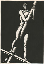 """Rockwell Kent Wood Engraving """"Lookout"""" - 1930 Art Deco"""