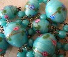 ANTIQUE VENETIAN GLASS NECKLACE 1910 -TURQUOISE PINK GOLDSTONE BEADS MILLE FIORI