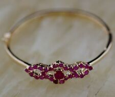 Natural  Red Ruby & WHITE CZ gold Bracelet BANGLE diameter 50mm