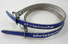 Christophe Toe Straps Blue Leather Vintage Road Racing Bicycle Pedal Straps NOS