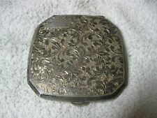 VINTAGE STERLING SILVER ETCHED SCROLL COMPACT MIRROR POWDER MARKED