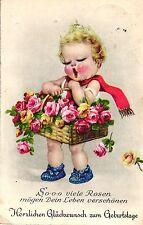 Geburtstag, Mädchen mit Blumenkorb, Feldpost 1943