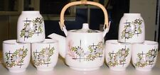 Japan Japanese 8pc Tea Set white flowers with gold & green Bamboo plastic handle