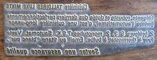 ANCIENNE PLAQUE D'IMPRIMERIE SAUTER CUISINIERE TALLOIRES LUXE MIXTE