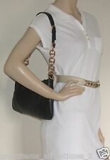 PRADA Black Pebbled Leather Gold Tone Chain Link Shoulder Bag, Made In ITALY