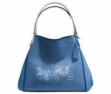 COACH Shoulder Tote Denim Blue HORSE & CARRIAGE EDIE BAG CANVAS Chalk White New