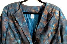 Maggie Barnes Catherines Jacket Teal Copper Metallic  Lined  Size 0X  NWOT  #P18