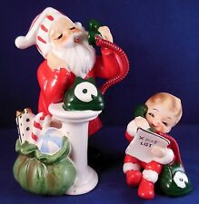 Vintage Christmas Josef Originals Santa & Boy On Phone in Pajamas Figurine Set A