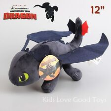 "12"" How to Train Your Dragon Toothless Plush Night Fury Soft Toy Stuffed Animal"