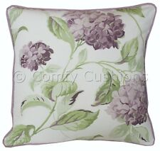 "Pair of 16""x16"" Laura Ashley 'Hydrangea' Grape Fabric Piped Cushion Covers"