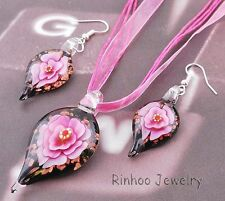 Leaf Flower Inside 1set Lampwork Murano Glass Pendant Necklace Earrings