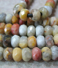 Natural Crazy Lace Agate 8x12mm Faceted Rondelle Beads Large 2.5mm Hole 8""