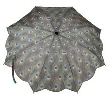 Galleria New Peacock Feather Windproof Automatic Open Close Folding Umbrella