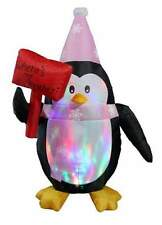 5 Ft Inflatable Flashing Penguin w/ Sign Indoor Outdoor Christmas Decorations d