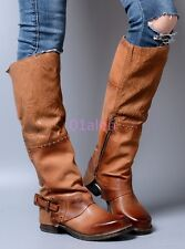 Vintage Retro Ladies Buckle Punk Western Cowboy Knee High Leather Riding Boots