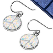 CUTE WHITE/ BLUE AUSTRALIAN FIRE OPAL PEACE SIGN .925 Sterling Silver Earrings