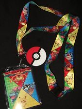 Pokemon Pikachu Venusaur Blastoise Charizard Lanyard ID Card Holder Rubber Charm