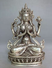 Collectible Decorated Old Handwork Tibet Silver Carved Yamantaka Buddha Statue