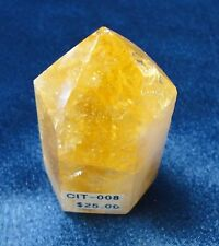 Brazilian Citrine 6-sided Polished Point with flat bottom - rock collectible