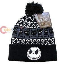 Nightmare Before Christmas Jack Beanie Intarsia Cuff Pom Beanie Cap Knitted Hat