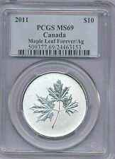 2011 1/2 Ounce Silver Maple Leaf Forever PCGS graded MS69 First Year of Design