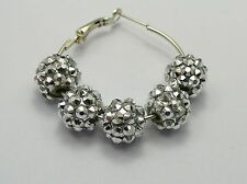 20 Pcs Silver Acrylic Rhinestone Pave DISCO Ball Beads 12mm Spacer