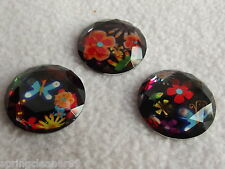 DRESS IT UP BUTTONS ~ HIPPIE CHIC ~ 3 BEAUTIFUL FACETED FLOWERS ~ SIXTIES RETRO