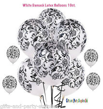 10ct White Damask Latex Balloons  Birthday, wedding, Anniversary Party Supplies