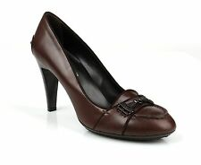 "NEW TODS BROWN LEATHER ""MOCCASIN"" PUMPS HEELS SHOES SZ 40"