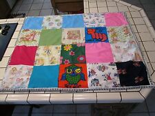 Vintage Childs Crib Quilt Blanket Hand Made  SQUARES OLD Graphic Fabric