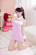 Woman Pink Lace Rabbit Bunny Costume Cosplay Sleepwear + Thong Set C24PK