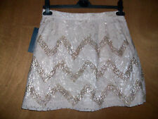 BNWT FCUK French Connection ASOS Pink Rose Gold Lace Sparkle Mini Skirt Size 10