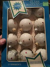 Vintage Coby Sugar Glitter Christmas Tree Ornaments Frosted