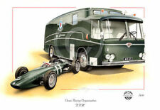 BRM P57 F1 GP GRAHAM HILL & BRM TEAM TRANSPORTER BUS 1962 NEW PAINTING PRINT ART