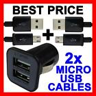 Dual USB Car Charger + 2 Micro USB Cables for Samsung Galaxy S6 S4 S3 Note Mini